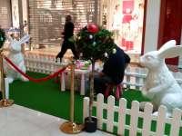 Peinture sur lapins et oeufs géants